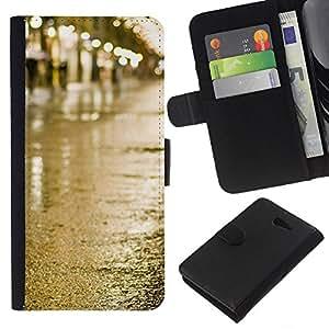 KLONGSHOP // Tirón de la caja Cartera de cuero con ranuras para tarjetas - Calle Lluvia Mojado luces de la ciudad - Sony Xperia M2 //