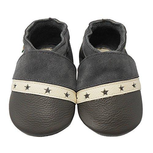 Sayoyo Premium Weich Leder babyschuhe junge krabbelschuhe mädchen Grau Stern