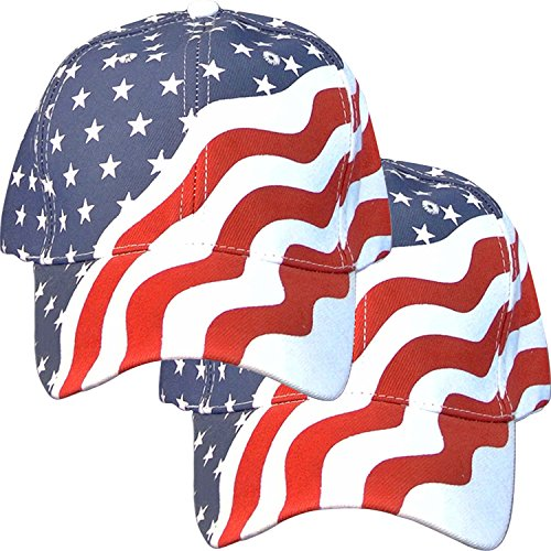 Online Best Service 2 Pack American Flag Ball Cap Hat Us USA Patriotic Stars and Stripes Baseball - Usa Online Best Shop