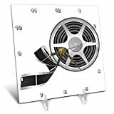 3dRose Reel with a Strip of Movie Film Illustration Desk Clock, 6 x 6''