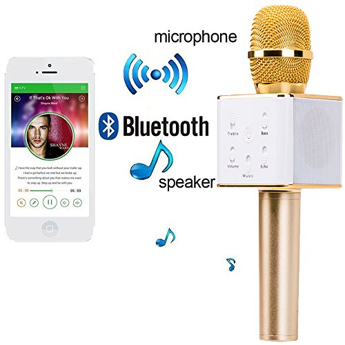 Karaoke Microphone Wireless, FeBite Portable Handheld Singing Machine Condenser Microphones Mic And Bluetooth Speaker Compatible with iPhone/ iPad/ iPod/ Samsung Sony HTC Lumia Smartphones Tablet PC (Karaoke Machine With Mic Stand)