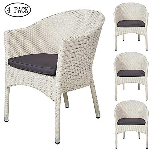 Outdoor Rattan Chairs Patio Garden Furniture with Seat Cushions,Weave Wicker Armchair (White) ()