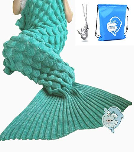 LAGHCAT Big Mermaid Tail Blanket and Mermaid Tail Blanket Crochet Thick Adult/Children(Green)