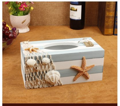 Seashell Tissue (Handmade Natural Wood Eco-friendly Decorative Facial Tissue Holder Box/ Toilet Tissue Paper Holder, Creative Mediterranean Starfish and Seashell Design)