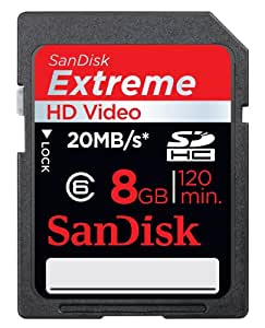 SanDisk 8GB Extreme HD Video - SDHC Class 6 High Performance memory card (SDSDX3-8192-P21, Retail Packaging) - 133x / 20MB/s edition