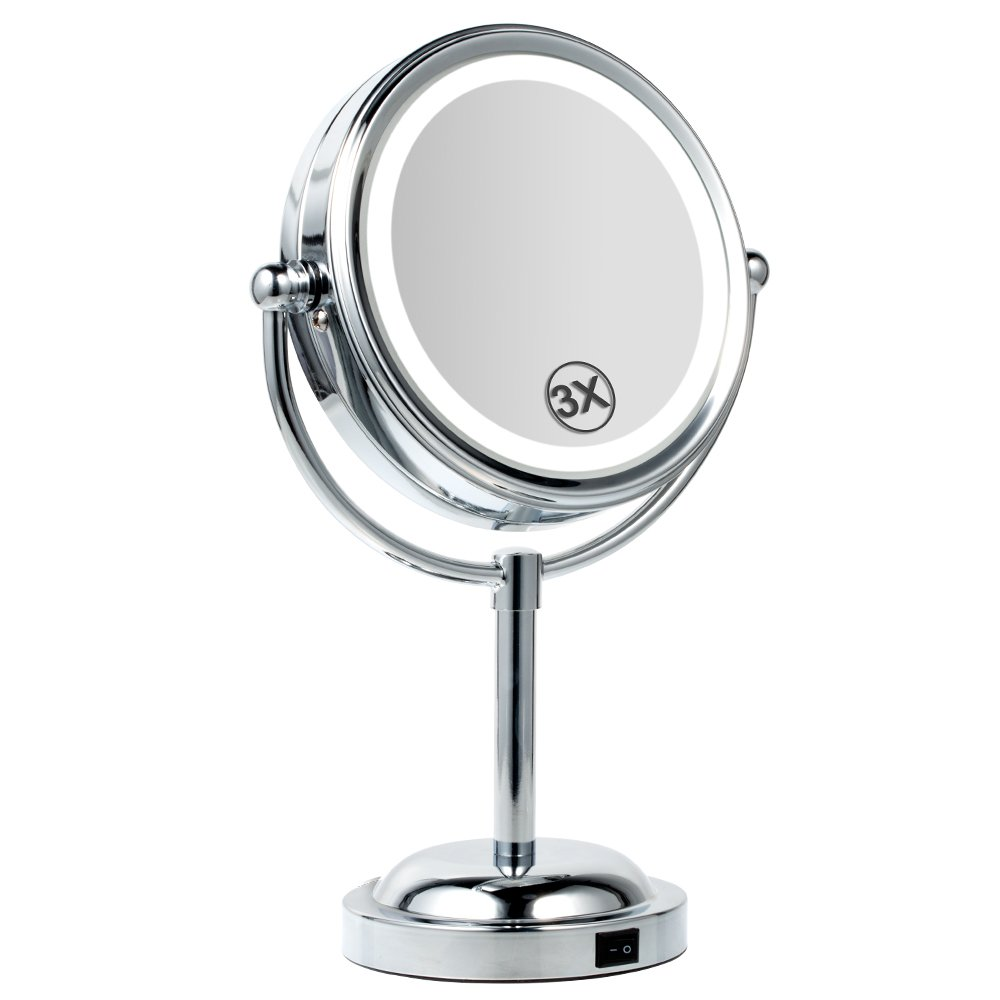 Makeup Mirror, BEW Round Double-Sided 360° Swivel 1X/3X Magnification Lighted Vanity Mirror, Valentine's Day Gift