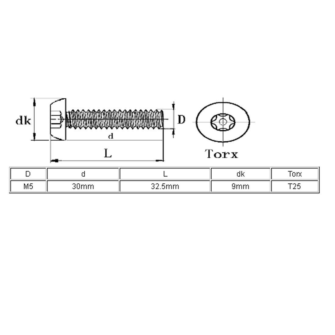 sourcingmap/® M5x30mm 304 Cabeza de bot/ón de acero inoxidable de seguridad Torx tornillos a prueba de manipulaciones 5pcs