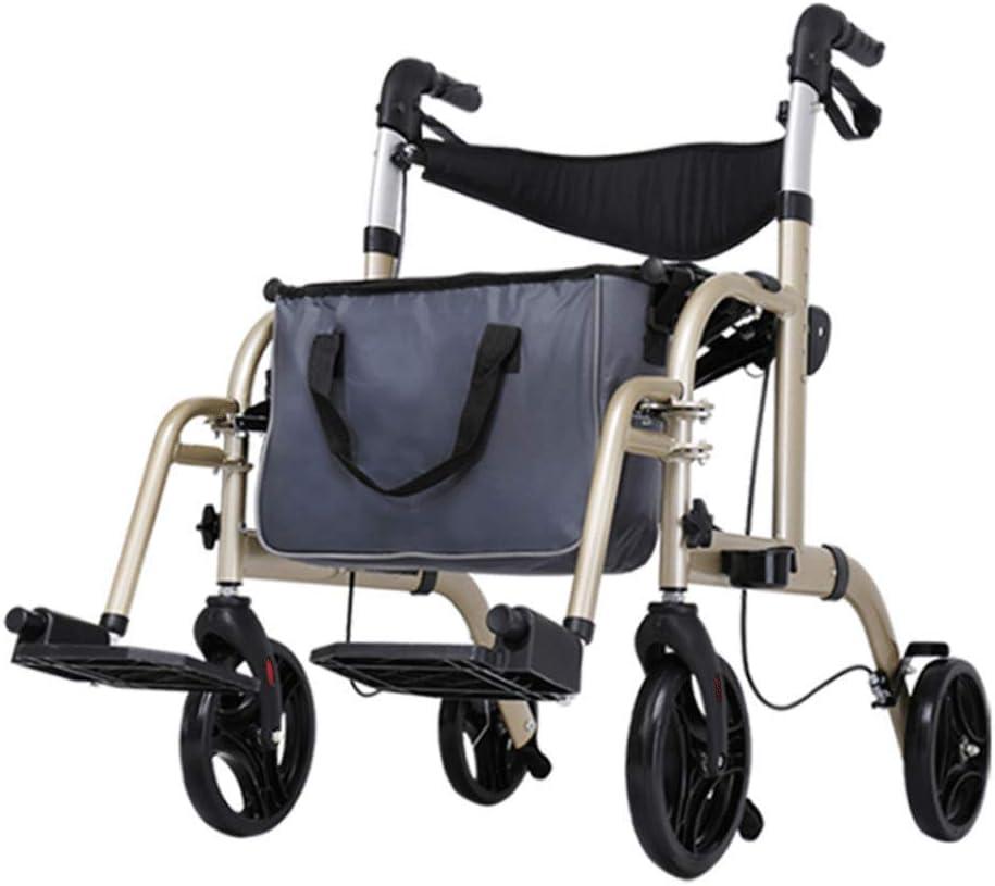 Andador para Mayores, minusválidos, Adultos o Ancianos, rollator, caminador, Andador y Silla de Ruedas, Aluminio, Ligero, Plegable, con Asiento y 4 Ruedas