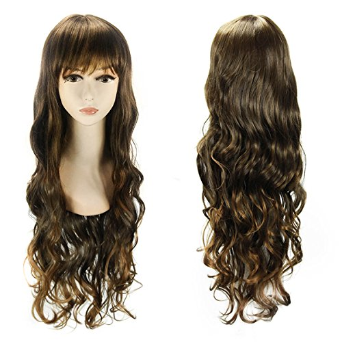 Fannis Coco Christmas Gift 30'' Waist-length Long Wavy Curly with Flat Bangs Wigs for Women Fluffy Air Volume Hair Natural as Real for Xmas Party (Mixed Brown)
