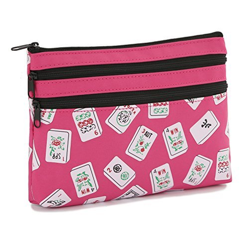 Mah Jongg Fuchsia Color Tiles 3 Zipper Mah Jong Purse for Mahjong Card