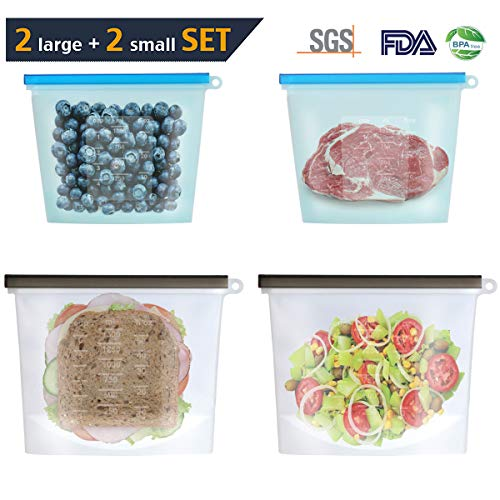DCLYSI Reusable Silicone Food Storage Bags,2 LARGE 1.5L+ 2 SMALL 1L Odor Free Food Grade Silicone Leakproof Airtight Preservation Bag for Sandwich,Snack,Lunch,Fruits,Freezer,Dishwasher,Microwave(4PCS)