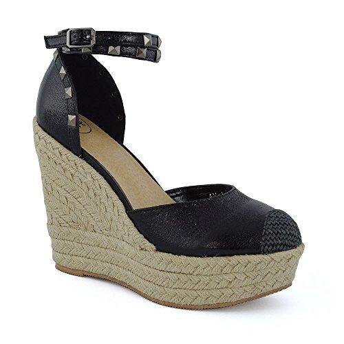 d81948fe470 Essex Glam Women s High Wedge Heel Platform Ankle Strap Synthetic Espadrille  Sandals best