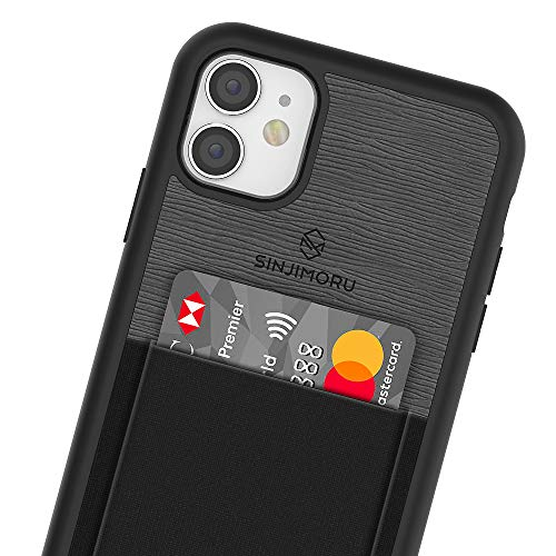 Sinjimoru iPhone 11 Case with Slim Wallet, Protective TPU Phone Case with Credit Card Holder for Back of Phone. Sinji Pouch Case for iPhone 11, Black