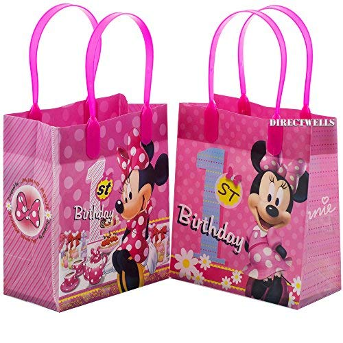 Disney Minnie Mouse 1st Birthday Authentic Licensed 12 Reusable Small Goodie Bags -