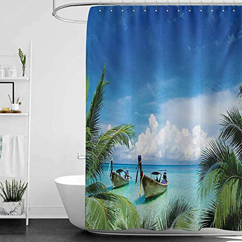Shower Curtains Boys Bathroom Travel,Exotic Hawaiian Beach with Palm Trees and Fishing Boats Paradise Picture,Blue Green Turquoise W48 x L84,Shower Curtain for Shower stall