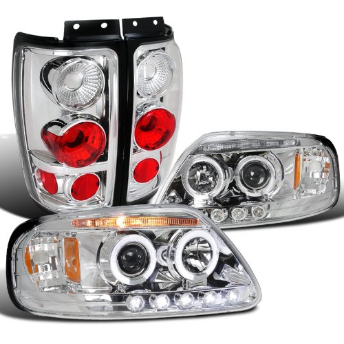 Ford Expedition Chrome Halo Projector LED DRL Headlights, - Ford Expedition Chrome Headlights