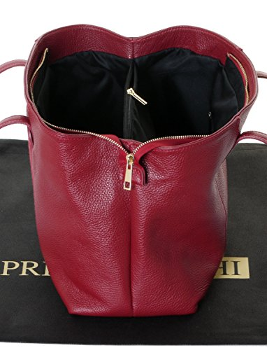 Leather Storage A Protective Red Primo Long Italian Includes Made Large Pocket Branded Shoulder Bag Hand With Sacchi Panel Handle Handbag Suede Textured Front RRxwptU