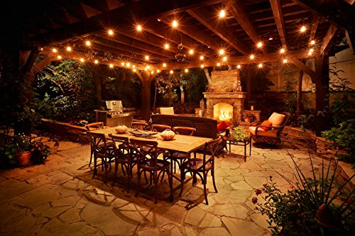 Amazon low e led outdoor string lights weatherproof amazon low e led outdoor string lights weatherproof commercial grade 15 hanging sockets 18 2 watt dimmable led bulbs 3 extra 10 ft ext aloadofball Choice Image