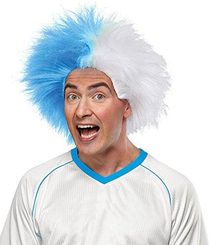 Crazy Sports Fan Wig color Light Blue & White - Fun Spiky Tar Heels Devils Toreros Jays Carolina Royals Team Troll Style Synthetic
