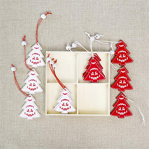 Star Pendant Angelic (CAHEDSD 12Pcs/Set White Red Christmas Tree Ornament Wooden Hanging Pendants Angel Snow Bell Elk Star Christmas Decorations for Home White red Tree)