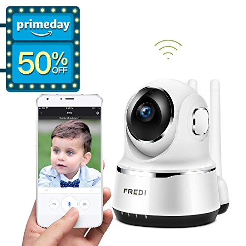 FREDI Wireless Baby Monitor Security IP Home 720p Wifi Camera with Two-Way function,Infrared Night Vision,Pan Tilt,P2P Wps Ir-Cut Nanny ip Camera Motion Detection Support 128GB sd card(not include) by FREDI