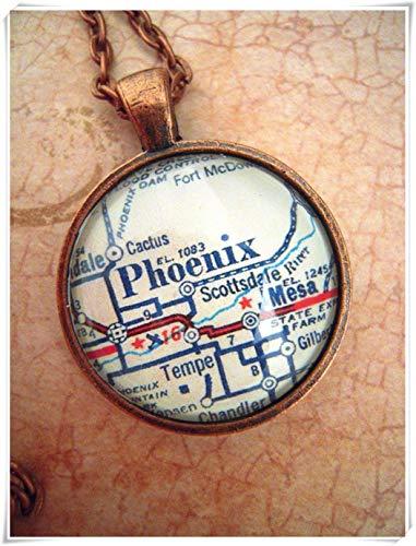 A little little love Custom Map Jewelry, Phoenix Arizona Map Pendant ,Vintage Map Pendant Necklace, Personalize Map ()