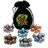 (6 Sets) Two-Tone Swirl Polyhedral Dice & Dragon Embroidery Bag for RPG DnD Dungeons and Dragons D&D Games
