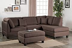 Experience simplicity with this 3-piece sectional with a matching ottoman. Upholstered in a plush linen-like fabric, this sectional features cushioned pillow back and seat supports for maximum comfort and works perfect in a contemporary or cl...