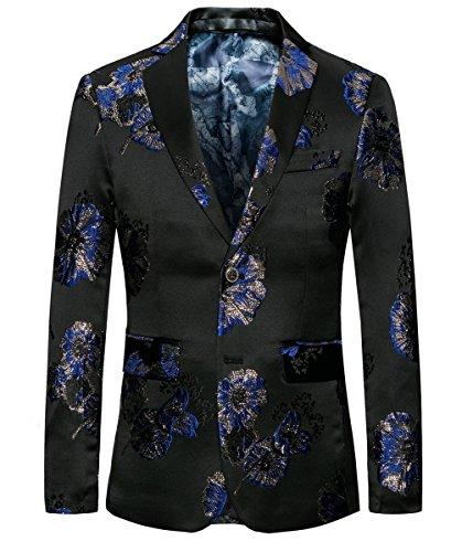 MOGU Uomo Blazer Classic Black floreale jacquard sottile del vestito