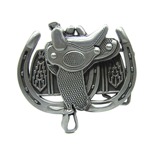 MASOP Western Horse Saddle Horseshoe Solid Cowboy Silver Belt Buckle Men Metal from MASOP