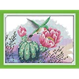 YEESAM ART New Cross Stitch Kits Advanced Patterns for Beginners Kids Adults - Flowers And Hummingbird 11 CT Stamped 56×41 cm - DIY Needlework Wedding Christmas Gifts