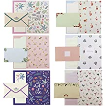 Bolbove 48 Writing Paper Stationery Sheets & 24 Envelopes + 27 Seal Stickers (Lovely Plants Cute Animals)