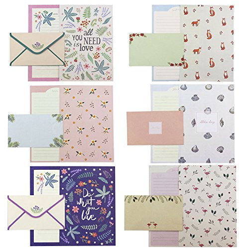 Bolbove 48 Writing Paper Stationery Sheets & 24 Envelopes + 27 Seal Stickers (Lovely Plants Cute -