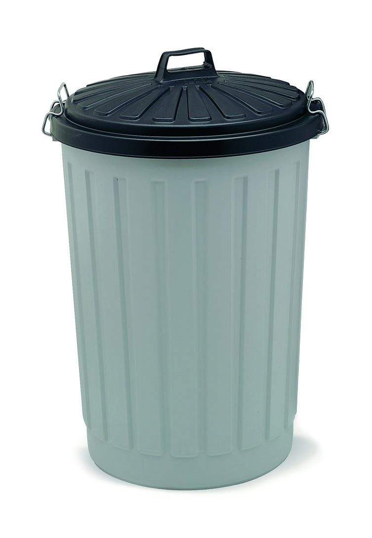 Addis Outdoor Round Dustbin with Lockable Lid, Grey/Black, 90 Litre ...