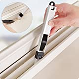 Aremazing 2-in-1 Multipurpose Detachable Window Door Track Groove Corner Keyboard Slot Cleaning Brush with Dustpan One Set (Black + White)