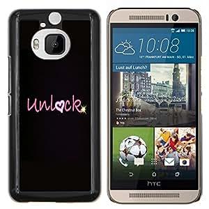 Corazón del amor de San Valentín Negro Estrella- Metal de aluminio y de plástico duro Caja del teléfono - Negro - HTC One M9+ / M9 Plus (Not M9)