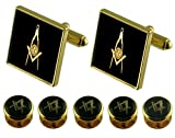 Senior Deacon Gold Cufflinks Masonic 5 Shirt Dress Studs Box Set