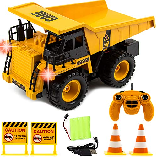 Toysery Remote Control Dump Truck for Kids | Full Functional RC Construction Tractor | Engineering Excavator Toy for Kids