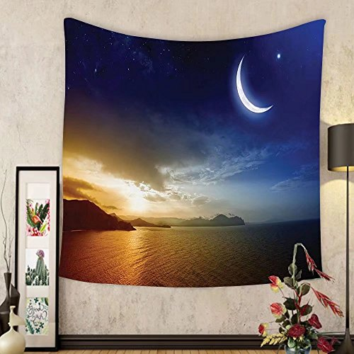 Gzhihine Custom tapestry Apartment Decor Tapestry Serene Landscape with Moon Lunar and Star Mystic Holy Sky over Lake Image for Bedroom Living Room Dorm 80WX60L Blue Orange by Gzhihine
