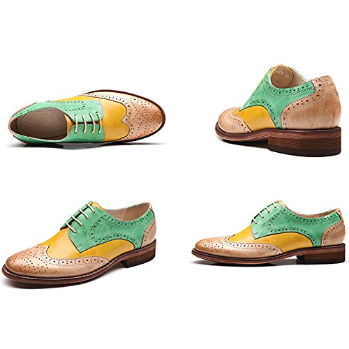 Oxfords Leather Heel Yellow Oxfords Carving Low up Green Odema Lace Shoes Women's Wingtip Dress Perforated Brogue qEwx584aA