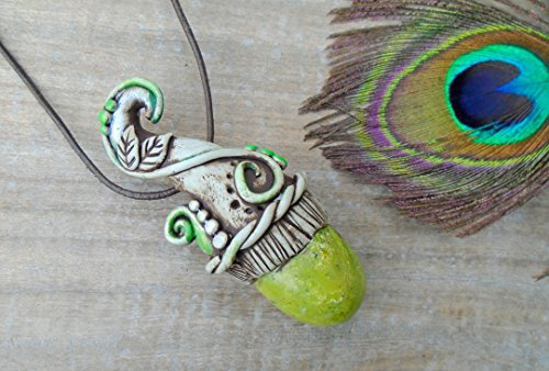 Gemstone Necklace Serpentine Crystal Pendant. Clay OOAK Woodland Faerie. Elven Pixie Gnome Fantasy Elf Jewelry.