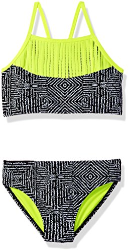 Freestyle Big Girls' Two Piece Live Wire With Fringe Bikini Swimsuit Set, Black, 8