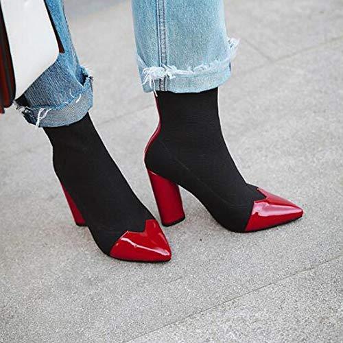 ZHZNVX Damenmode Stiefel Stiefel Stiefel Canvas Spring & amp; Herbst Stiefel Chunky Heel wies Toe Stiefelies Stiefeletten schwarz rot   Wein Party & Abend Farbblock 8a0ace