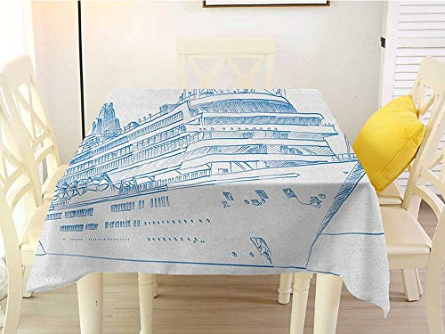 L'sWOW Square Tablecloth Cotton White Marine Hand Drawn Sketch Style Cruise Liner Ship Design Ocean Travel Transportation Holiday Blue White Western 36 x 36 Inch -