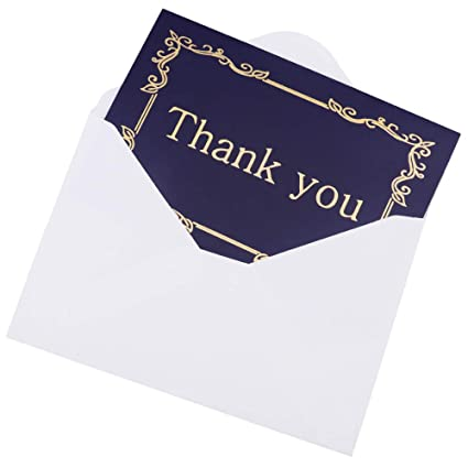 24 Thank You Cards Bulk - (4x6 Photo Size), Navy Blue & Gold Foil, Blank  Note Cards with Envelopes, Perfect for Gift Cards, Wedding, Business, Baby