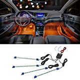 LEDGlow 4pc Orange LED Car Interior Underdash Lighting Kit - Universal Fitment - Music Mode - Auto Illumination Bypass Mode