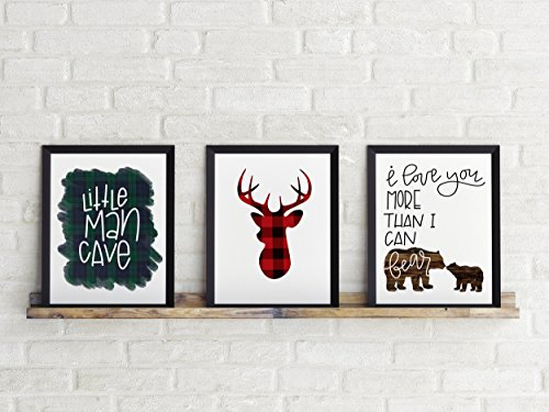 Three Piece Handlettered Nursery Graphic Design Prints 8.5 x11 Artwork Wood, Blue and Red Plaid Flannel