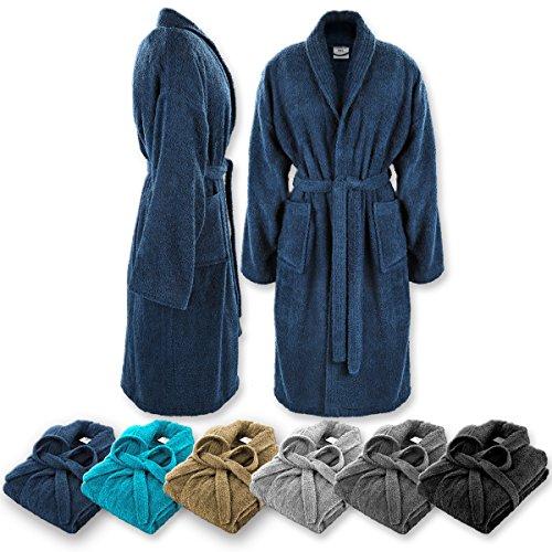 Gräfenstayn Bademantel für Damen & Herren S-XXXL aus 100% Baumwolle in verschiedenen Farben - Öko-Tex Standard 100 (XXL, Blau)