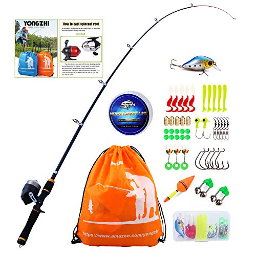Pole with Spincast Reel Telescopic Fishing Rod Combo Full Kits for Freshwater Bass Fishing ()