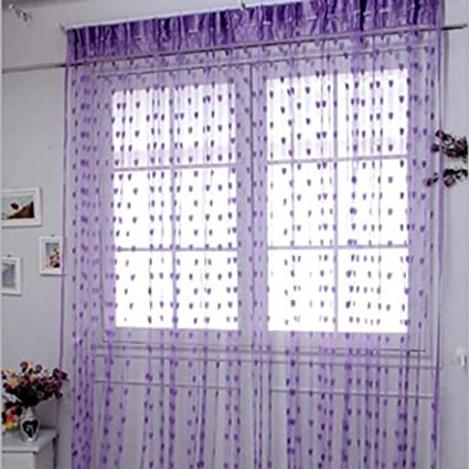Ramcha Heart 2 Piece Polyester Door Curtain Set - 6.5ft, Purple
